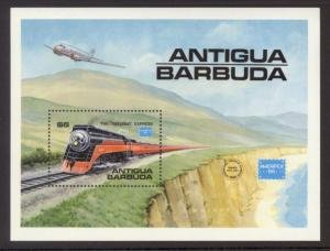 Antigua Barbuda 1986 AIRCRAFT TRAINS AMERIPEX'86 s/s Perforated Mint (NH)