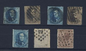 7x Belgium stamps; 3x Imperforate, 4x Perforate, Fine to Very Fine, Used.