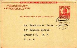 1951, 3c Reply Card (Sc #UY12r) Prague, Czechoslovakia to Trenton, NJ (39165)