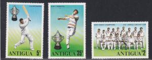 Antigua # 402-404, West Indies Cricket Champs, NH 1/2 Cat.