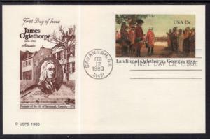 US UX98 Landing of Oglethorpe Postal Card Artmaster U/A FDC