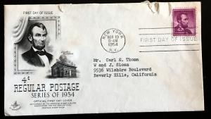 1036 Lincoln, Liberty Series, First Day Cover with Cache, Vic's Stamp Stash