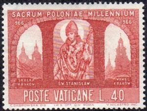 Vatican 435 - Mint-H - 40L St Stanislas / Castle / Churches (1966) (cv $0.30)