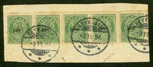 ICELAND #32 3Prir (small), STRIP OF 5 tied on small piece w/Reykjavik cancel