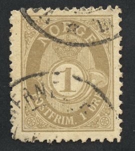 01898 Norway Scott #47a 1-Ore gray, perf. 13.5x12.5, used. SCV $45