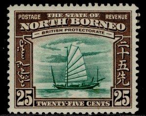 NORTH BORNEO GVI SG313, 25c green & chocolate, LH MINT. Cat £45.