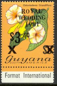 GUYANA 1981 $3.50 on $5.00 BLACK SURCHARGE Royal Wedding Sc 334 MNH