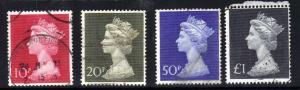 GB 1970 QE2 Set 4 x Large High Values Machins to £1 SG 829 - 831b ( H1117 )
