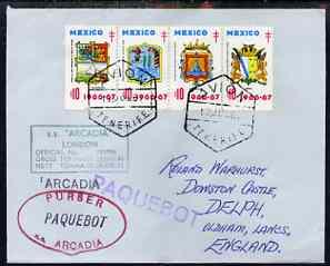 Mexico used in Tenerife 1967 Paquebot cover to England ca...