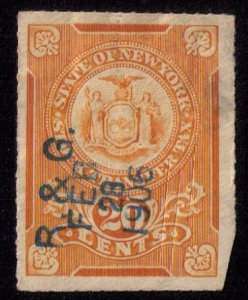1905 New York Stock Transfer Tax Stamp (Rouletted 12) Org Ylw F-VF-LOWER R FAULT