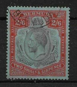BERMUDA SG89gf 1929 2/6 BLACK & RED ON BLUE DAMAGED LEAF VAR USED