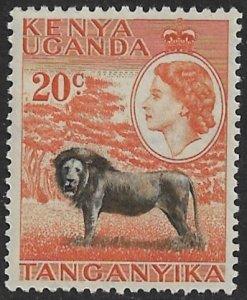 KENYA UGANDA TANGANYIKA 1954-59 QE2 20c LION Pctorial Sc 107 MNH