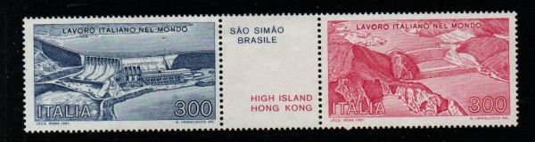 Italy Sc 1465a 1981 Civil engineering stamp pair mint NH