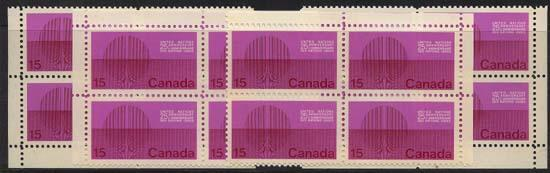 Canada - 1970 15c UN Winnipeg Tagged Blocks mint #514P