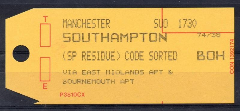 GB = (1994) ROYAL MAIL `Bag Tag` MANCHESTER to SOUTHAMPTON. Unusual. (01.16)
