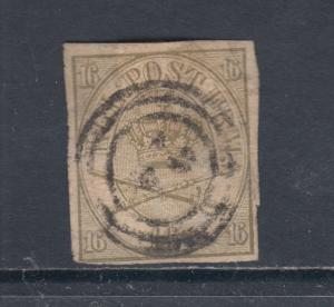Denmark Sc 15a used 1864 16s olive green Royal Emblems, Forgery