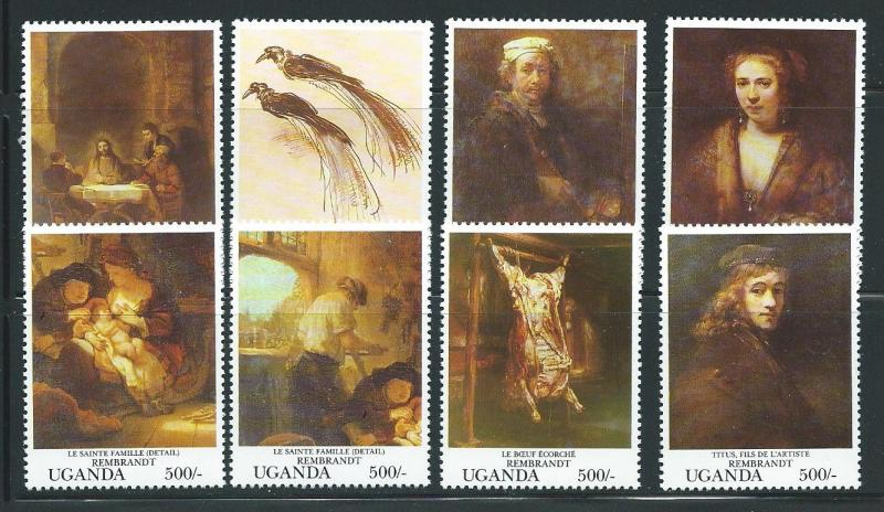 Uganda 1125a-h 1993 Louvre Indivual stamps MNH