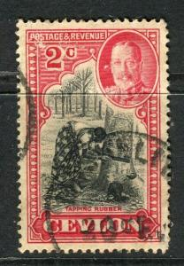 CEYLON; 1935 early GV issue fine used 2c. value, fair Postmark