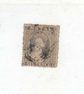 NATAL (MK6583) # 13  F-USED  6p 1862 QUEEN VICTORIA / GRAY CAT VALUE $75