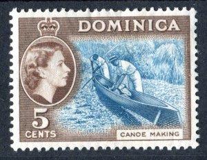 Dominica 1954 QEII. 5c light blue & sepia brown. Mint Hinged. SG147.