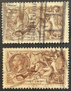GB #179, 222 Used F/VF - 2/6 Half Crown Britannia 1919-1934 SCV ~ $100 [$054]