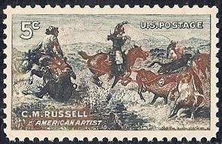USA Scott 1243 MNH**  C.M. Russell Jerked Down painting 1964
