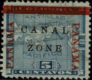 CANAL ZONE #12b 1904 PANAMA OVERPRINT ON 5c COLUMBIA ISSUE--USED--VF
