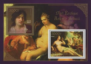 Erotic Art Paintings Antonio Bellucci Souvenir Sheet of 2 Stamps Mint NH
