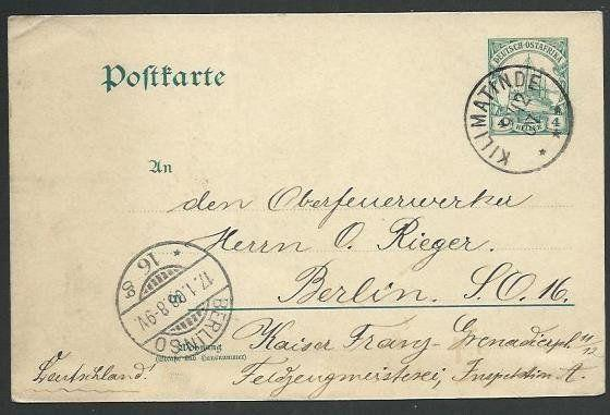 GERMAN EAST AFRICA 1907 4h postcardl used to Berlin, KILIMATINDE cds.......5946