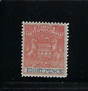 RHODESIA SCOTT #8A (RED/ULTRAMARINE) 1890-95 COAT OF ARMS 8P - MINT HINGED