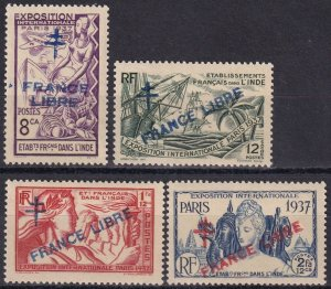 French India #177-8, 180-1 MNH  CV $29.00 (Z1514)