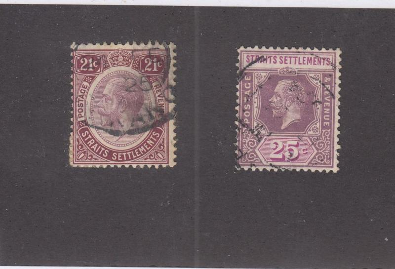 STRAITS SETTLEMENTS # 193-194 LIGHT USED KGV ISSUES CAT VALUE $57