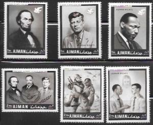 Ajman - UAE.  Set of 6 MNH - Human Rights #289-94 Martin Luther King.