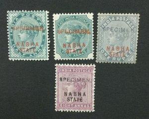 MOMEN: INDIA NABHA SG #10s,12s,13s,27s SPECIMEN MINT OG H LOT #193643-2410