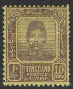 MALAYA TRENGGANU SG9a 1910 10c PURPLE/PALE YELLOW MTD MINT