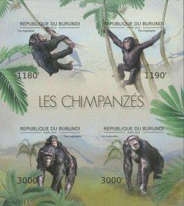Burundi MNH S/S Monkeys 2012 4 Stamps