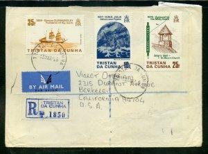 Tristan DA Cunha  1985 REGISTERED/AIRMAIL Cover to Berkley, California