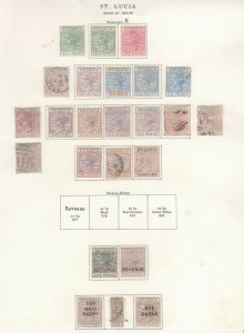 St. Lucia Stamps 1882-98 Approx. CV. $1020 (JH 9/22) GP
