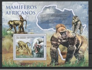 St. Thomas & Prince Islands MNH S/S Macacos Primates 2010