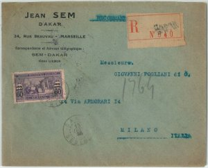 59357 -  SENEGAL - POSTAL HISTORY: REGISTERED  COVER to ITALY - 1923