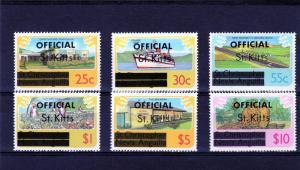 St. Kitts #O2a-3a, 7a-10a MNH  Officials UNWMK (6 vals) 1980