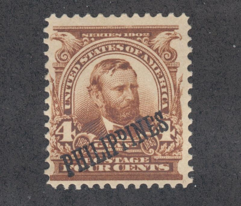 Philippines Sc 229 MLH. 1904 4c brown US Grant with ovpt, fresh, bright