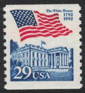Scott 2609- Flag over White House, Coil- MNH 29c 1992- unused mint stamp