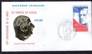 French Polynesia 340 Charles De Gaulle U/A FDC