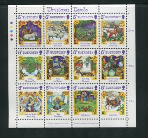 Guernsey MNH S/S 346 Christmas Carols 12 Stamps
