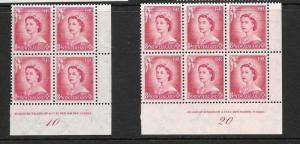 NEW ZEALAND 1954  8d QEII  PLATE BLKS SET 2   MNH  CP N8a