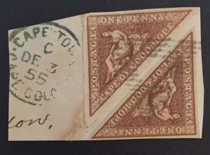 COGH SG18 1d Deep Carmine-red PAIR Africa stamp, cape of goog hope