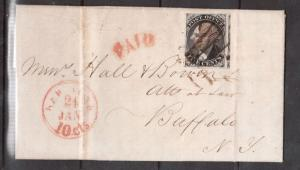 USA #9X1 Used On Folded Letter To NY With Red Paid Cancel