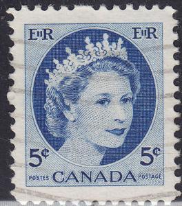Canada 341 USED 1954 Queen Elizabeth II, Wilding Portrait 5¢