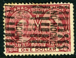 CANADA - 1897 $1 Lake Jubilee.  A good used example with Roller cancel  Sg 136
